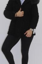 Pelz Fell Jacke  Persianer schwarz mit Kapuze