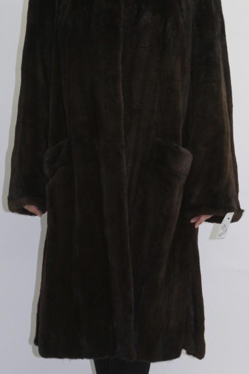 Pelz Fell Mantel  Nerz ausgelassen braun
