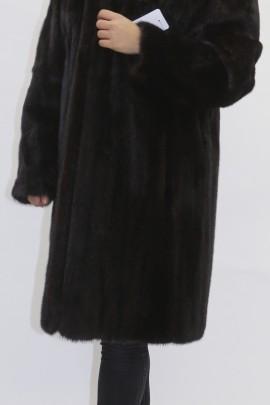 Fur jacket mink dark brown