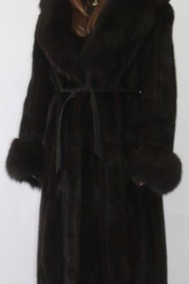 Pelz Fell Mantel  Nerz braun mit Blaufuchs dunkel braun