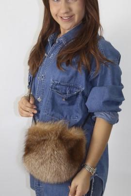 Fur - fur bag silver fox camel