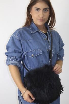 Fur bag Finnraccoon dark blue black border