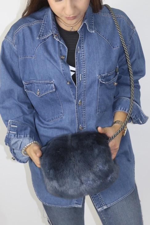 Pelz Fell Muff Tonnen Tasche  Nerz blau
