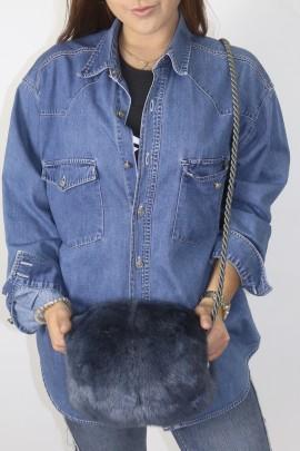 Fur fur muff tons bag mink blue