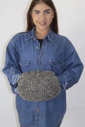 Fur fur muff bag Persian gray