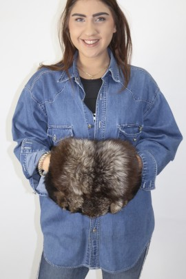 Fur muff bag silver fox nature with black goat
