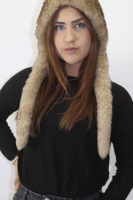 Fur fur hat cap. Cap lamb leather ready