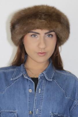 Pelz   Fell -Stirnband Russischer Zobel Natur braun