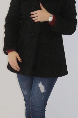 Fur jacket Persian black hood with blue fox