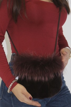 Fur bag mink purple pieces with Finnraccoon edge