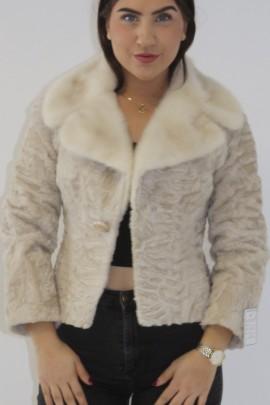 Fur jacket Indian lamb with mink collar