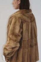 Pelz-  Fell Jacke Nerz aufgesetzt beige