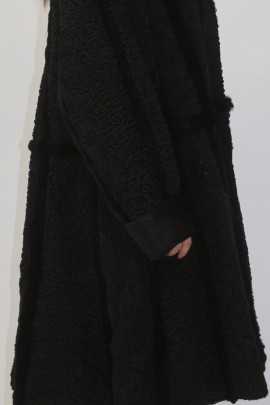 Pelz-  Fell  Mantel Persianer schwarz  mit  Kanin schwarz