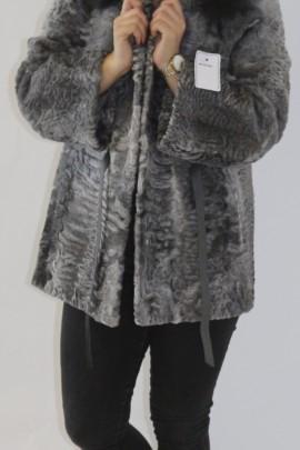 Fur jacket Persian gray hooded edge Finnraccoon