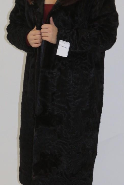 Pelz-  Fell  Mantel Ziege schwarz mit Nerz zum Basteln