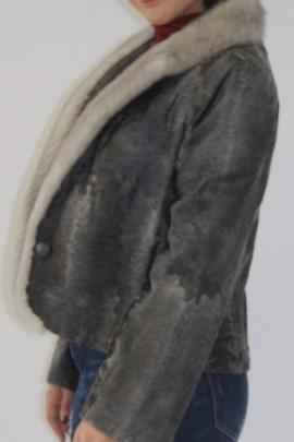 Fur jacket Persian broadtail gray sapphire mink