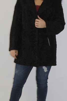 Fur jacket Persian black hooded edge Finnraccoon