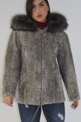 Fur jacket Persian gray with hood edge silver fox