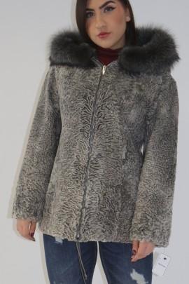 Pelz-  Fell Jacke Persianer grau mit Kapuzenrand Silberfuchs