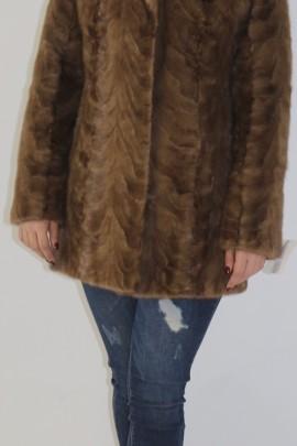 Fur jacket mink pieces with hood