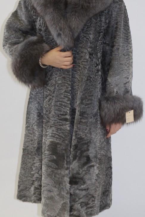 Pelz  Fell  Mantel  Persianer grau mit Blaufuchs Anthrazit