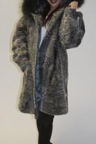 Pelz  Fell Jacke  Persianer grau mit Kapuze mit Blaufuchs