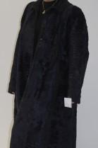 Pelz Fell  Mantel  persianer Breitschwanz blau mit Leder