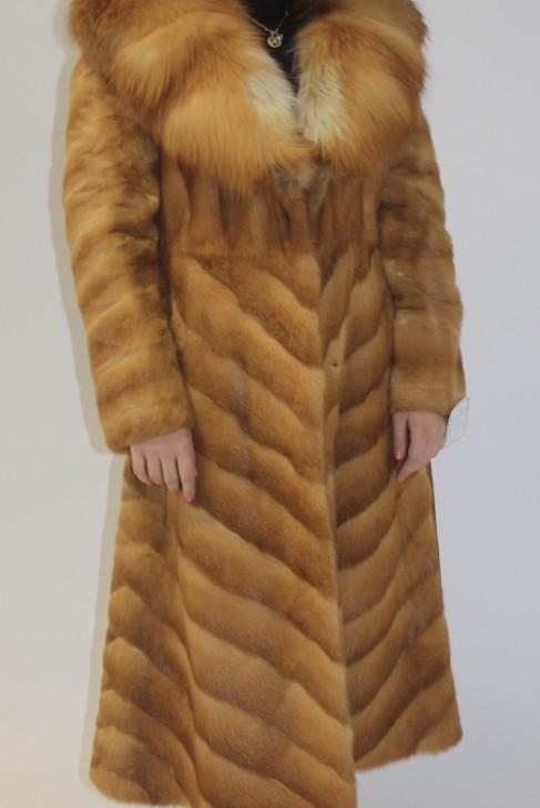 Pelz Fell  Mantel Wiesel Natur  mit Rotfuchs Kragen
