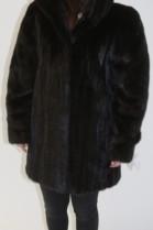 Pelz -Fell Jacke  Nerz  schwarz mit Kapuze