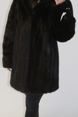 Fur jacket mink black with hood