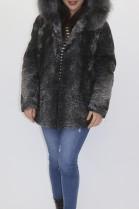 Pelz- Fell  Jacke Persianer grau   Bluefrost Kapuzenstreifen