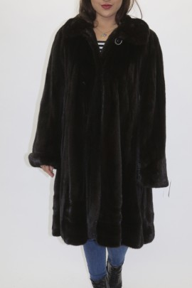Pelz -Fell  Mantel   Nerz ausgelassen BLACKGLAMA