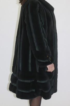 Pelz Fell Jacke Nerz   grün gerupft bedruckt grünes Leder