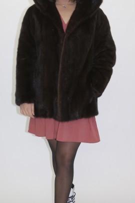 Fur jacket mink with hood brown
