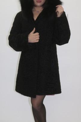 Pelz Fell Jacke Persianer schwarz   mit Kapuze und Blaufuchs
