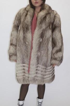 Pelz Fell Jacke  Blaufuchs Natur am Saum mit schönen Dekor