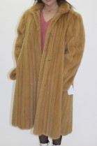Fur coat inside lining mink yellow-beige with fabric