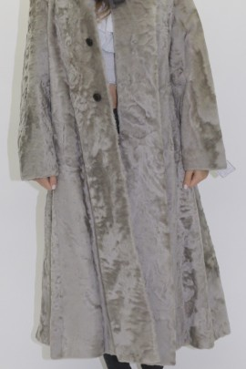 Pelz -  Fell  Mantel Indisch Lamm grau mit Blaufuchs